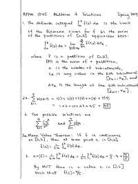 Mean Value Theorem - Calculus One - Solved Exam