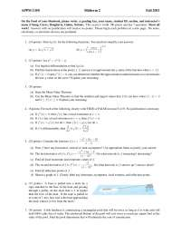 Mean Value Theorem - Calculus One for Engineers - Exam, Past Exams for Calculus for Engineers