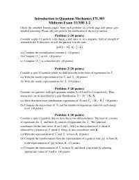 Matrix Representations - Quantum Mechanics - Exam