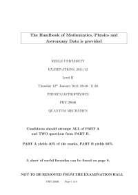 Physical Interpretation - Quantum Mechanics - Exam