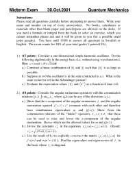 Linear Combination - Quantum Mechanics - Exam