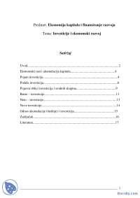 Investicije i ekonomski rast-Seminarski rad-Ekonomija