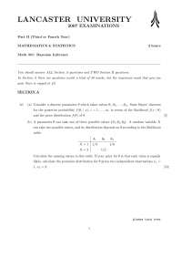 Posterior Probability - Bayesian Inference - Exam