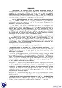 Estabilidade - notas - Direito do Trabalho