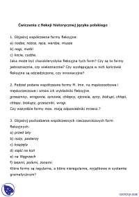 Ćwiczenia z fleksji - Notatki - Gramatyka historyczna