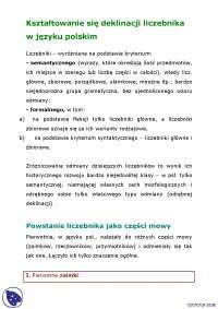Krótsza deklinacja liczebników- Notatki - Gramatyka historyczna - Część 1