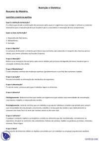 Resumo da Matéria Nutrição e Dietética - Apostilas - Nutrição