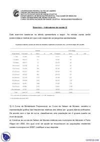 Indicadores de saúde (I) - Exercícios - Medicina Preventiva