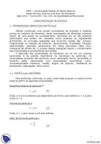 Classificação e separação - Apostilas - Engenharia, Notas de estudo de Engenharia Química
