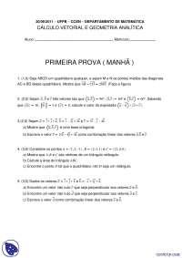 Cáculo Vetorial e Geometria Analítica - 20.09.2011 - Prova - UFPB