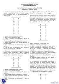 Correlação e Regressão Linear - Exercícios - Estatística Aplicada