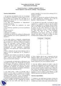 Teste de hipóteses e intervalos de confiança - Exercícios - Estatística Aplicada