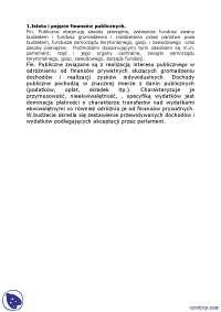 Istota i pojęcie finansów publicznych - Notatki - Finanse publiczne