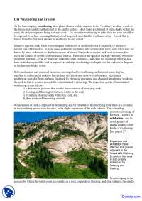 Weathering and Erosion - Geology - Lecture Note