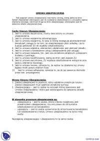 Umowa ubezpieczenia - Notatki - Ubezpieczenia i ryzyko