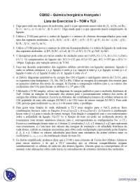 Lista de Exercícios 3 TOM e TLV - Exercícios - Química Inorgânica Avançada I