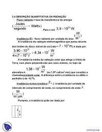 Descrição Quantitativa da Radiação - Apostilas - Radiação Solar e Terrestre, Balanço de Calor - Fisica