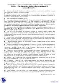 Lista de Exercícios 1 - Exercícios - Fundamentos de Química Inorgânica III
