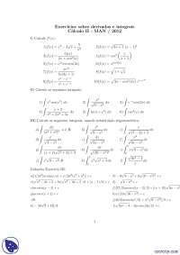 Exercícios sobre derivadas e integrais - Exercícios - Matemática Aplicada a Negócios