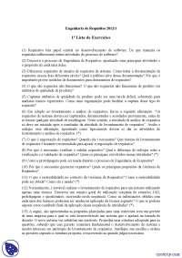 Lista de Exercícios - Exercícios - Engenharia de Requisitos