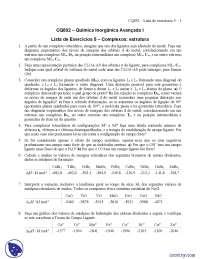 Lista de Exercícios 5 Complexos estrutura - Exercícios - Química Inorgânica Avançada I