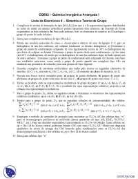 Lista de Exercícios 4 Simetria e Teoria de Grupo - Exercícios - Química Inorgânica Avançada I