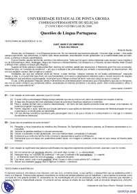 Vestibular de Língua Portuguesa - Universidade Estadual de Ponta Grossa - 2008 - uepg