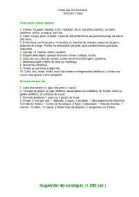 dieta dos carboidratos - Apostilas - Biologia Aplicada