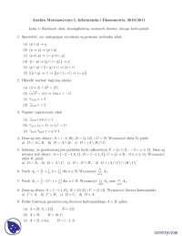 Rachunek zdań - Ćwiczenia - Analiza matematyczna 1