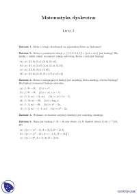Własności funkcji - Ćwiczenia - Matematyka dyskretna