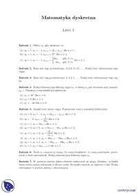 Ciągi - Ćwiczenia - Matematyka dyskretna