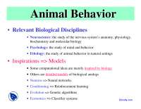 Animal Behavior - Embedded Intelligent Robotics - Lecture Slides