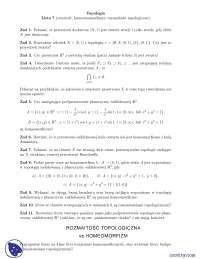 Zwartość, homeomorfizmy, rozmaitości topologiczne - Ćwiczenia - Topologia