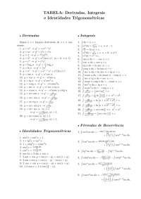 Derivadas, Integrais e Identidades Trigonométricas - Apostilas - Ciências da Natureza