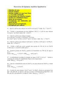 Exercícios de Química Analítica Qualitativa - Apostilas - Química