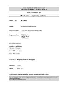 Bending Moment Diagrams - Engineering Mechanics - Past Paper