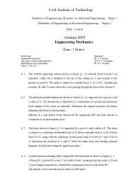 Compression Force - Engineering Mechanics - Past Paper