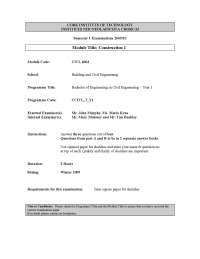 Rules for Site Visits - Construction - Past Paper