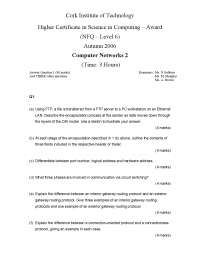 Address Resolution Protocol - Computer Networks - Old Exam Paper