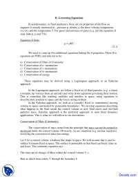 Governing Equations - High Speed Aerodynamics - Lecture Notes