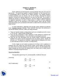 Panel Methods - High Speed Aerodynamics - Lecture Notes