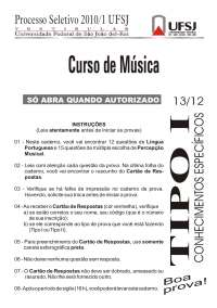 Vestibular de Musica tipo 1 - 2010 - UFSJ