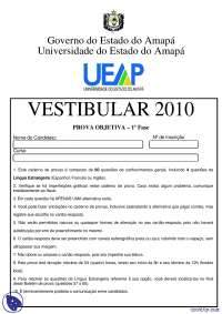 Vestibular Prova Objetiva 1° Fase - 2010 - UEAP