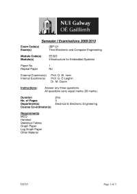 Architecture - Infrastructure for Embedded Systems Programming - Past Exam Paper