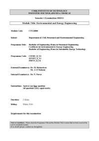 Biodegradable Municipal Waste - Environmental Engineering - Old Exam Paper