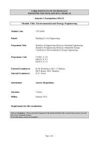 Monetary Value - Environmental Engineering - Old Exam Paper, Past Exams for Environmental Science