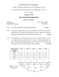 Discharge in River - Environmental Engineering - Old Exam Paper