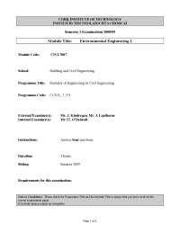 Cultural Heritage - Environmental Engineering - Old Exam Paper
