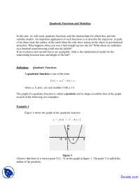Quadratic Models and Equations - Introduction to Engineering - Lecture Notes