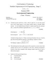 Dillon Equation - Environmental Engineering - Old Exam Paper